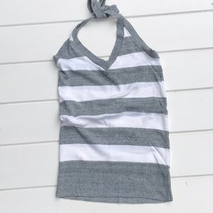 Tops - Gray and white knit halter top